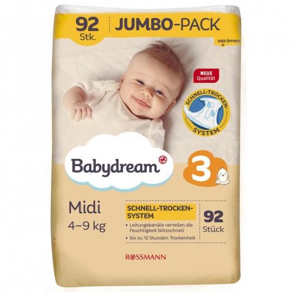 Babydream Jumbopack Windeln Midi 92 Stück Gr. 3, 4-9 kg