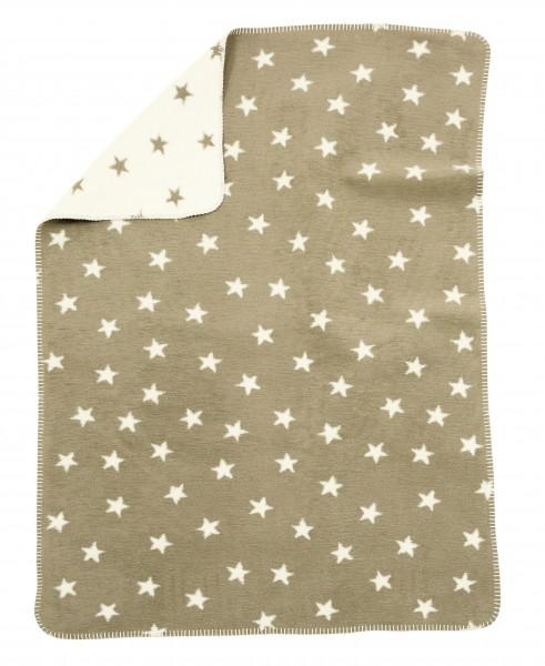 Alvi Babydecke Baumwolle Sterne beige
