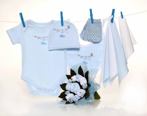 Baby Corner Blumenbouquet blau