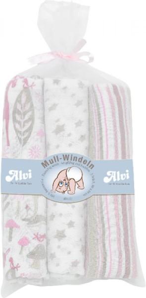 ALVI Mull-Windeln rosa