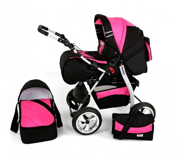 Kunert Kombi Kinderwagen Deep schwarz/pink