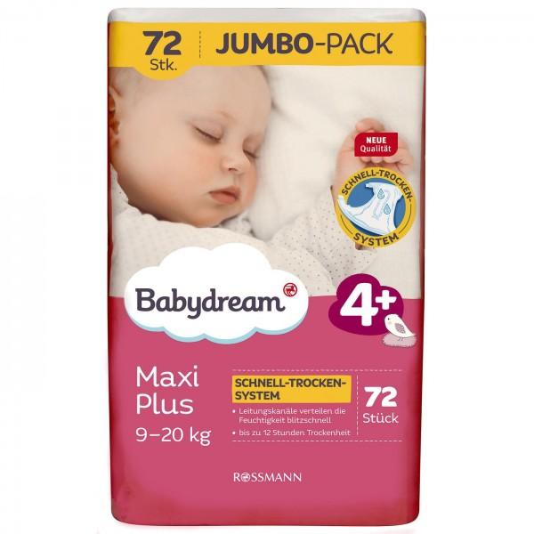 Babydream Windeln Maxi Plus Jumbo-Pack 72 Stück Größe 4+, 9-20 kg