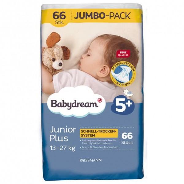 Babydream Windeln Junior plus Jumbo-Pack 66 Stück Größe 5+, 13-27 kg