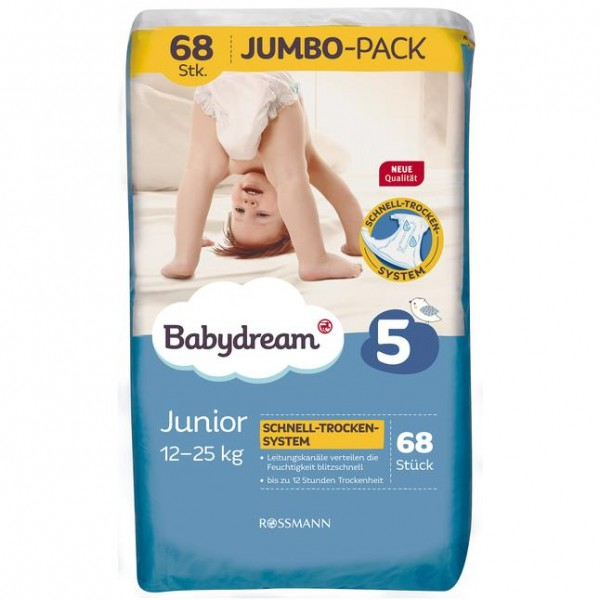 Babydream Windeln Junior Jumbo-Pack 68 Stück Größe 5, 12-25 kg