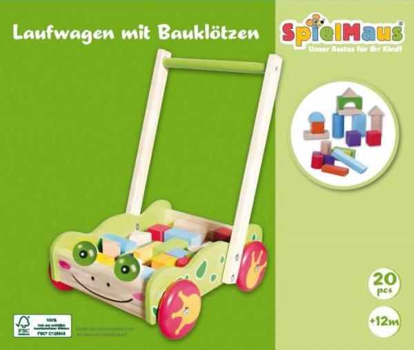 SpielMaus Holz Laufwagen mit Bauklötzen