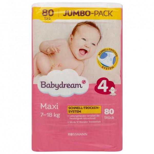 Babydream Jumbopack Windeln Maxi 80 Stück Gr. 4, 7-18 kg