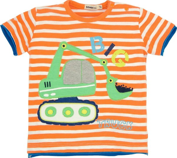 Bondi T- Shirt kurzarm orange/weiß
