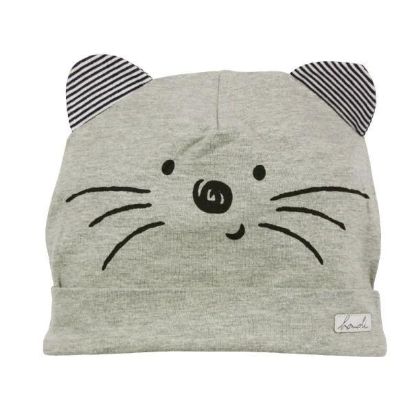 "Bondi Mütze ""Little Cat"" grau GOTS"