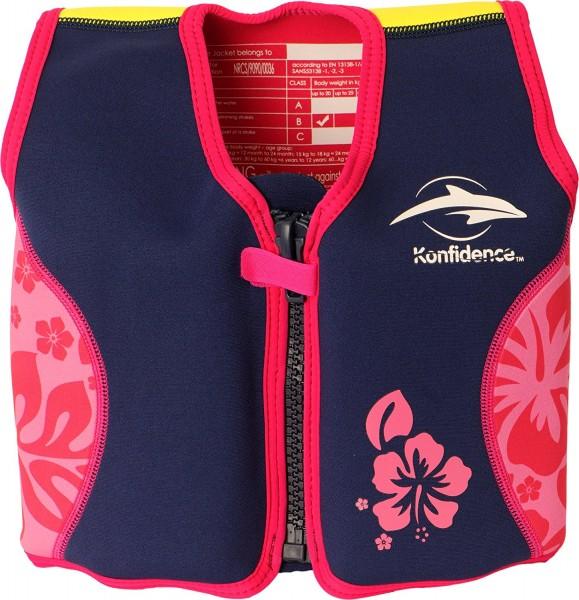 Konfidence Schwimmweste Navy/Pink/Hibiskus
