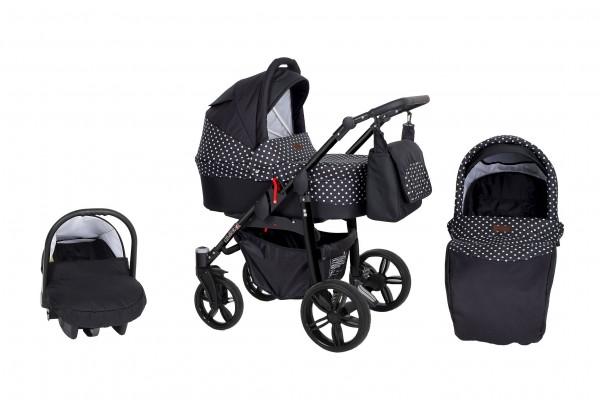 Kunert Kombi Kinderwagen Silver 3 in 1 schwarz/Dots